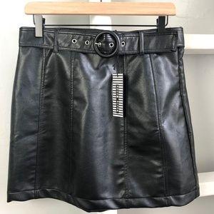 Haute Monde Faux Black Leather Mini with Belt
